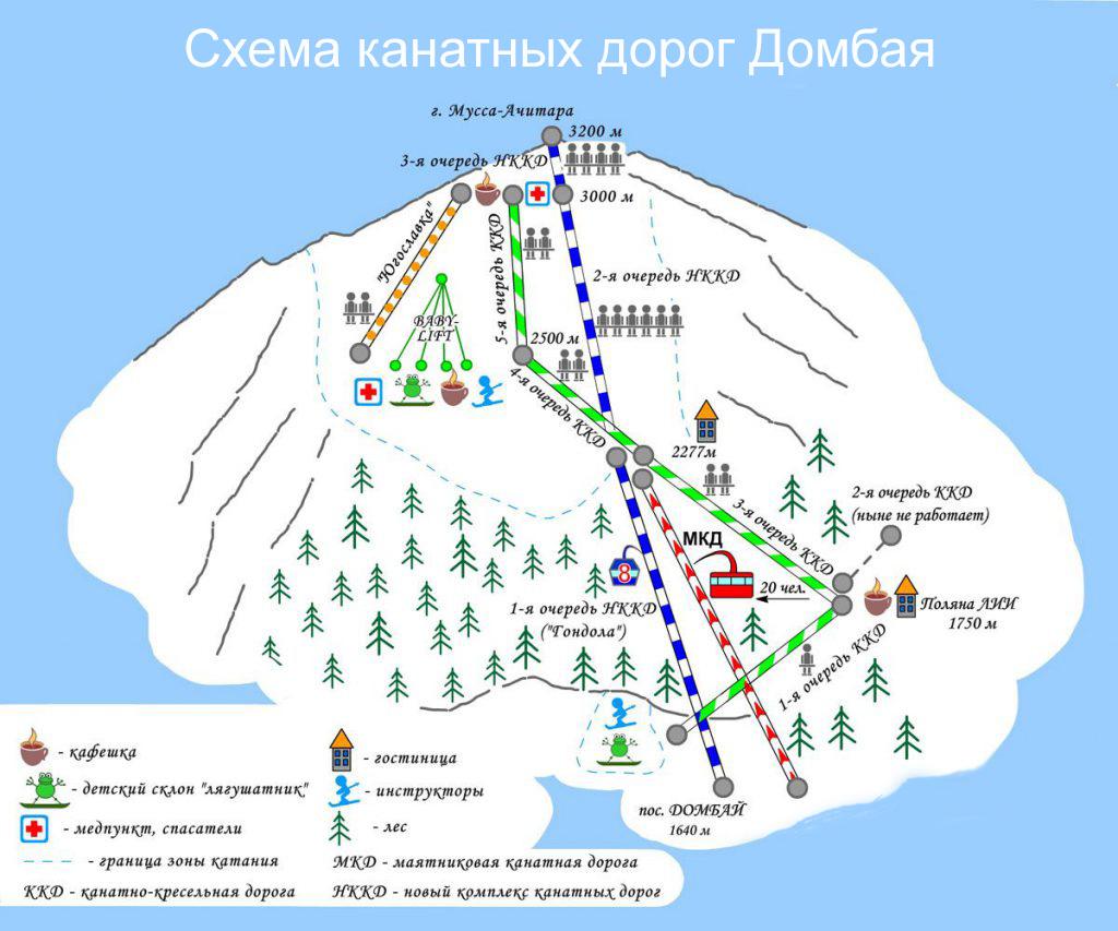 Схема канатных дорог