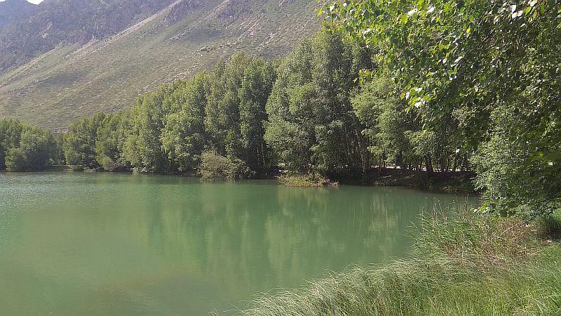 Зеленоватый оттено воды в озере.