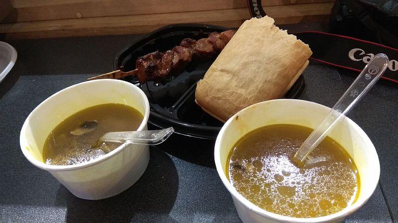 Суп грибной и шашлык